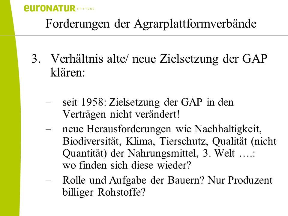 Forderungen der Agrarplattformverbände 3.Verhältnis alte/ neue Zielsetzung der GAP klären: –seit 1958: Zielsetzung der GAP in den Verträgen nicht verä