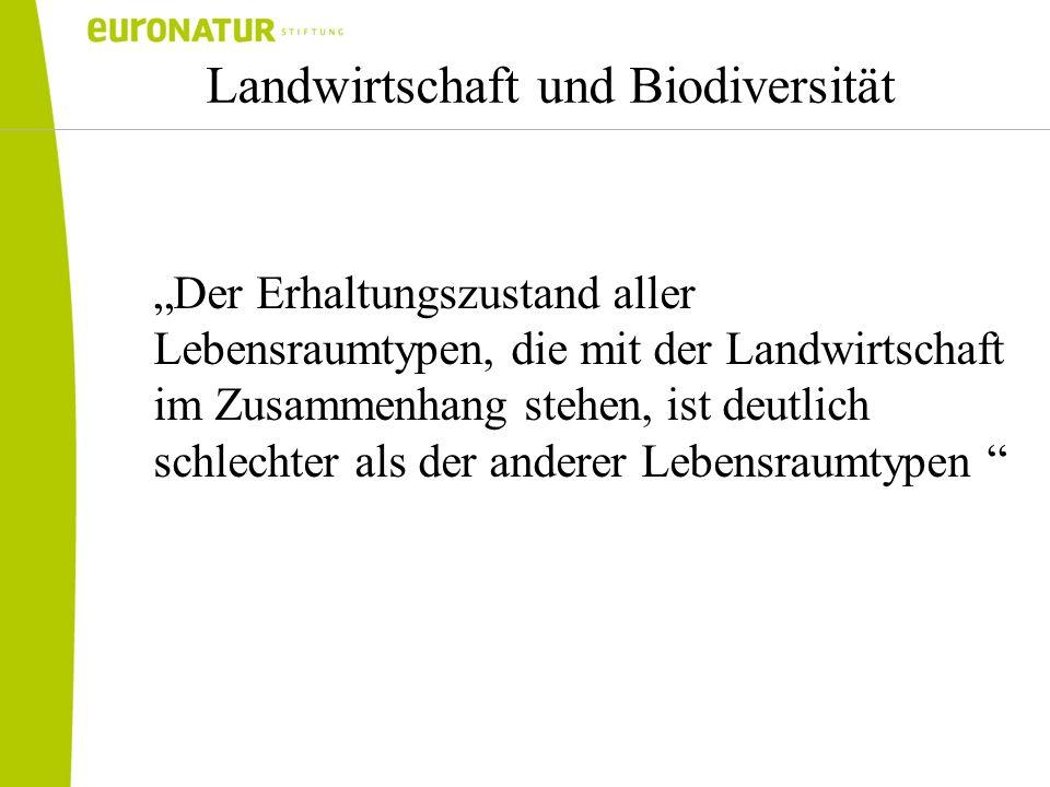 Erkenntnisse der EU-Kommission Grasland und Feuchtgebiete am stärksten betroffen (trotz Natura 2000, CC, AUP`s etc.) Ursachen hierfür sind die Umstellung auf eine intensivere Landwirtschaft, die Aufgabe landwirtschaftlicher Flächen und schlechte Bodenbewirtschaftung Bericht der EU-KOM zu geschützten Lebensraumtypen (13.7.09)