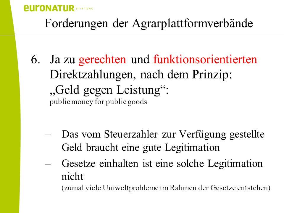 Forderungen der Agrarplattformverbände 6.Ja zu gerechten und funktionsorientierten Direktzahlungen, nach dem Prinzip: Geld gegen Leistung: public mone