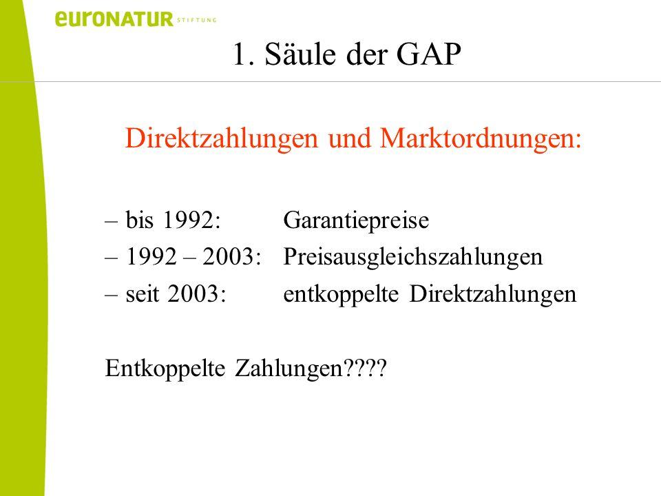 1. Säule der GAP Direktzahlungen und Marktordnungen: –bis 1992: Garantiepreise –1992 – 2003: Preisausgleichszahlungen –seit 2003: entkoppelte Direktza