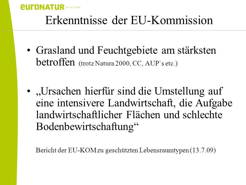 Erkenntnisse der EU-Kommission Grasland und Feuchtgebiete am stärksten betroffen (trotz Natura 2000, CC, AUP`s etc.) Ursachen hierfür sind die Umstell