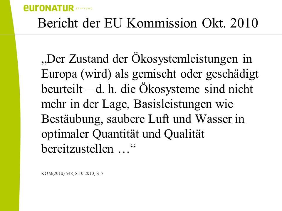 Bericht der EU Kommission Okt. 2010 Der Zustand der Ökosystemleistungen in Europa (wird) als gemischt oder geschädigt beurteilt – d. h. die Ökosysteme
