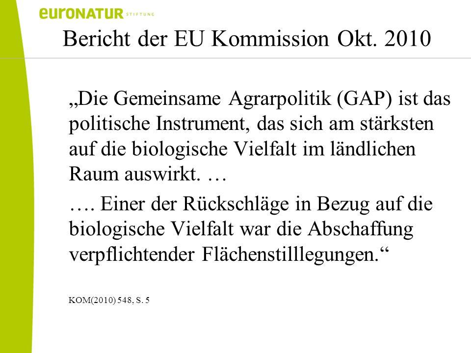 Bericht der EU Kommission Okt. 2010 Die Gemeinsame Agrarpolitik (GAP) ist das politische Instrument, das sich am stärksten auf die biologische Vielfal