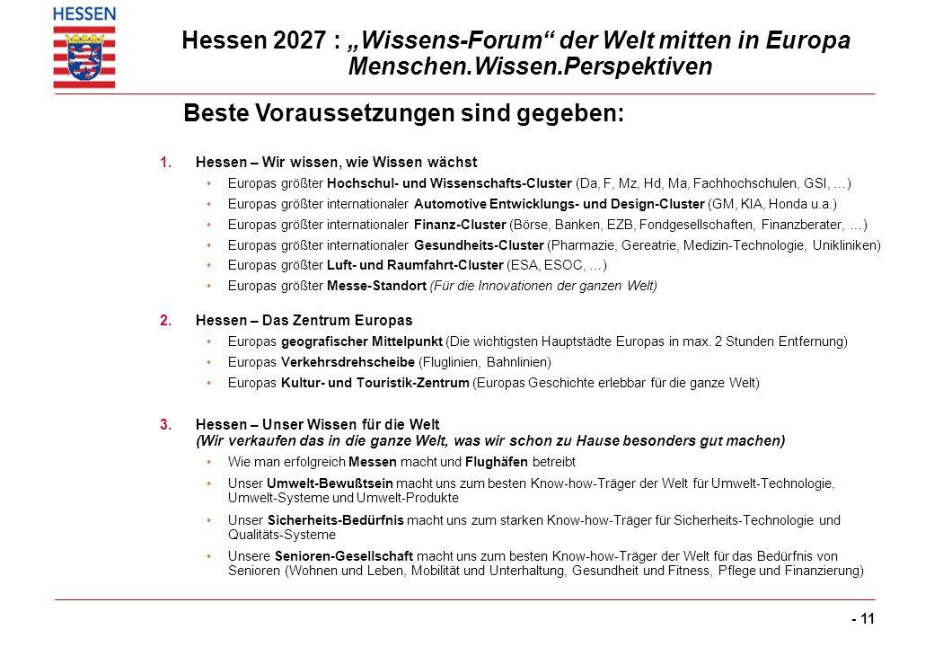 - 11 Hessen 2027 : Wissens-Forum der Welt mitten in Europa Menschen.Wissen.Perspektiven 1.Hessen – Wir wissen, wie Wissen wächst Europas größter Hochs