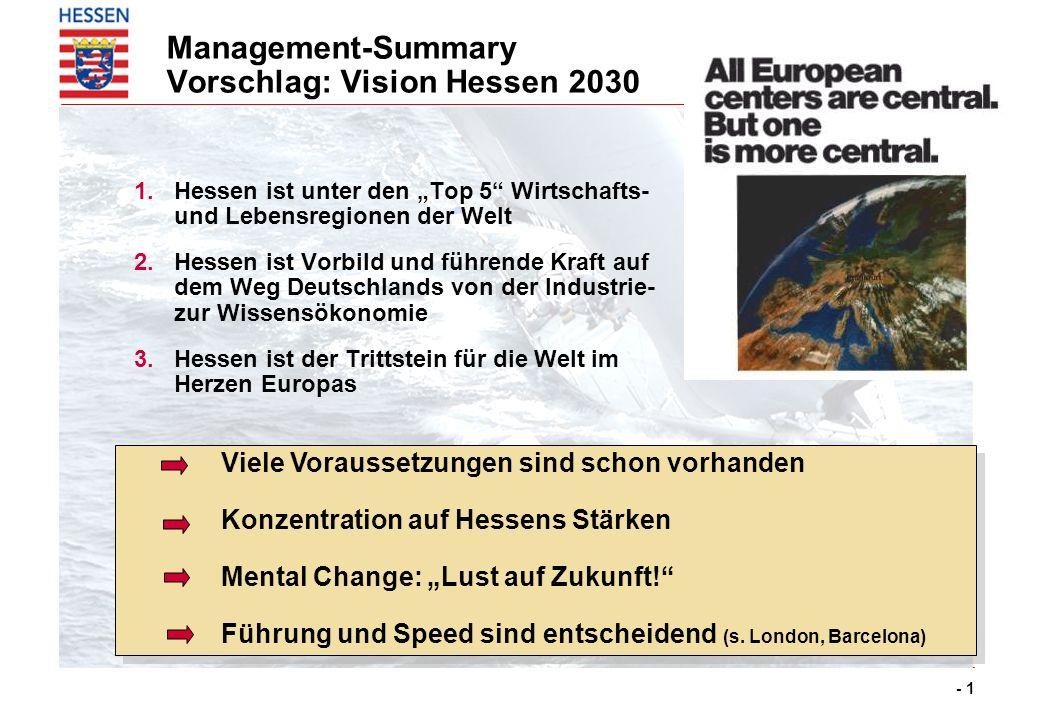 - 1 Viele Voraussetzungen sind schon vorhanden Konzentration auf Hessens Stärken Mental Change: Lust auf Zukunft! Führung und Speed sind entscheidend
