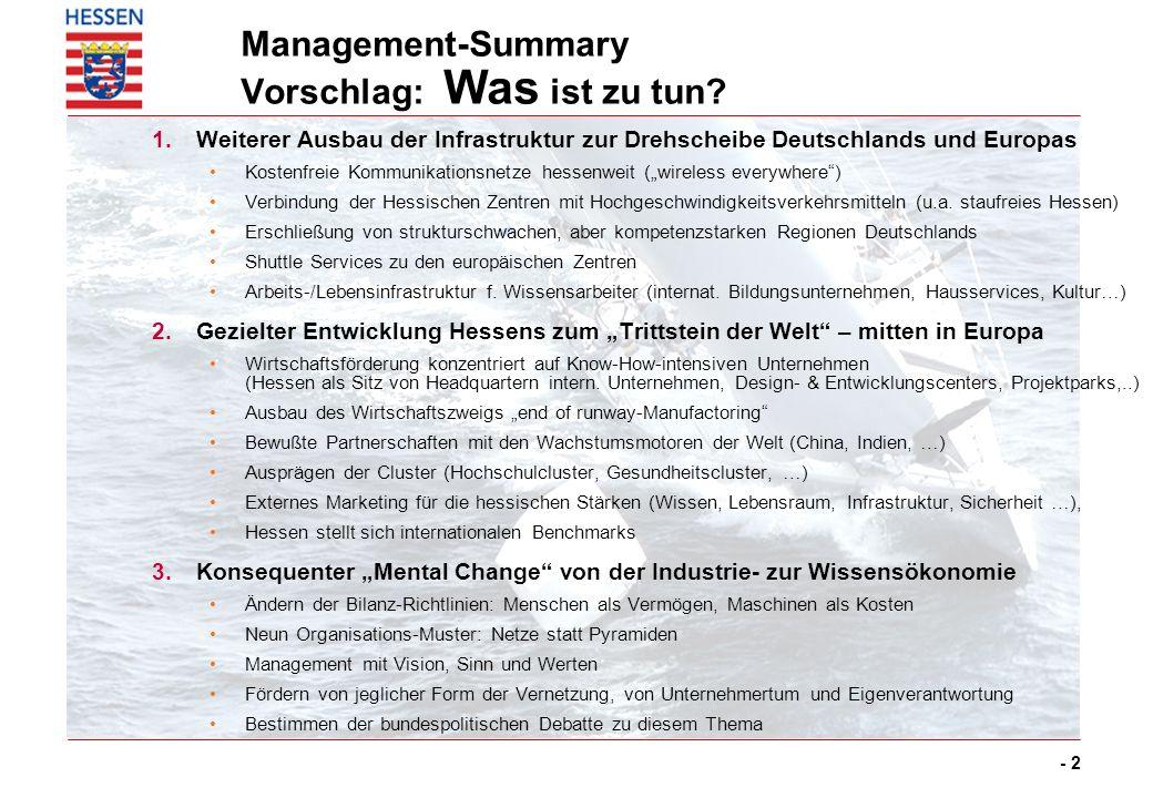 - 2 Management-Summary Vorschlag: Was ist zu tun? 1.Weiterer Ausbau der Infrastruktur zur Drehscheibe Deutschlands und Europas Kostenfreie Kommunikati