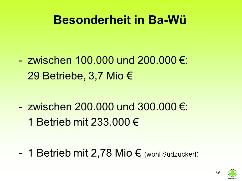 36 Besonderheit in Ba-Wü -zwischen 100.000 und 200.000 : 29 Betriebe, 3,7 Mio -zwischen 200.000 und 300.000 : 1 Betrieb mit 233.000 -1 Betrieb mit 2,7