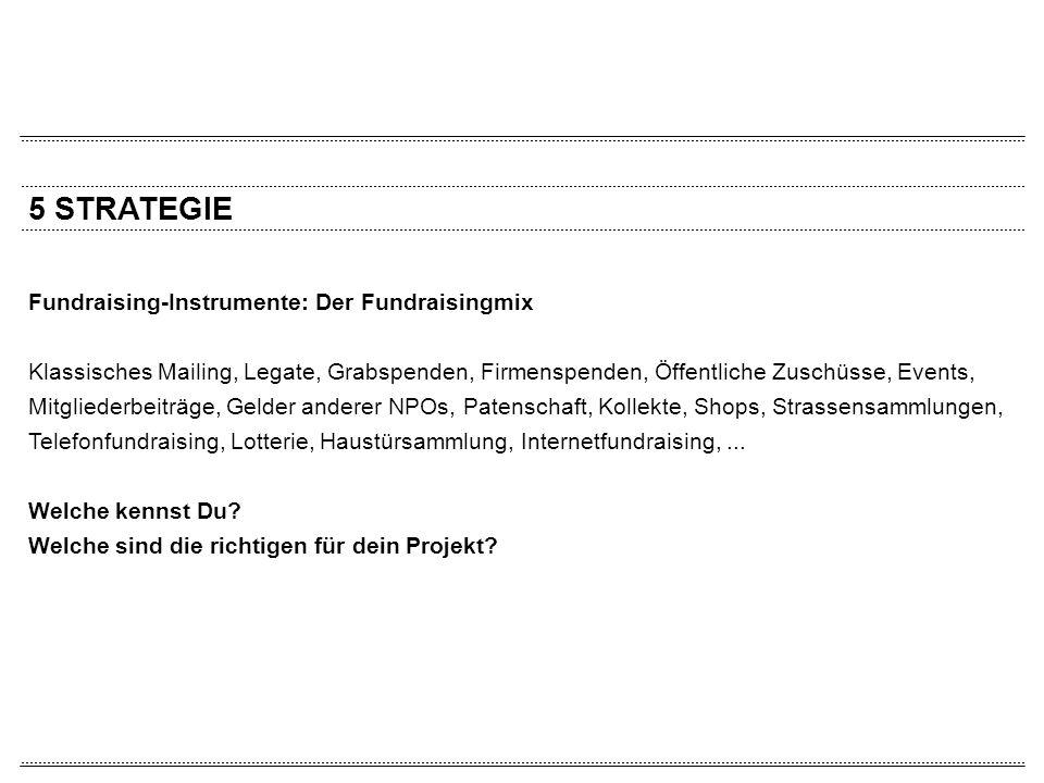 5 STRATEGIE Fundraising-Instrumente: Der Fundraisingmix Klassisches Mailing, Legate, Grabspenden, Firmenspenden, Öffentliche Zuschüsse, Events, Mitgli