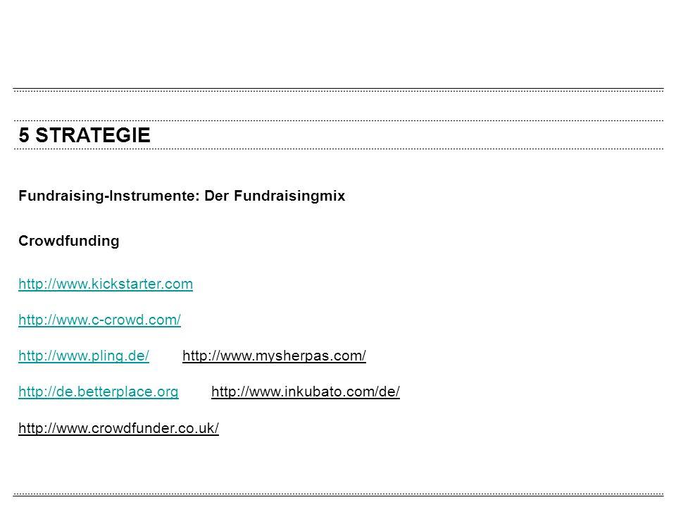 5 STRATEGIE Fundraising-Instrumente: Der Fundraisingmix Crowdfunding http://www.kickstarter.com http://www.c-crowd.com/ http://www.pling.de/http://www