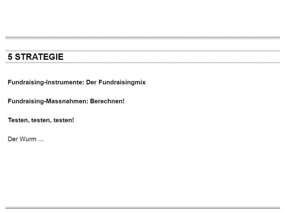 5 STRATEGIE Fundraising-Instrumente: Der Fundraisingmix Fundraising-Massnahmen: Berechnen! Testen, testen, testen! Der Wurm...