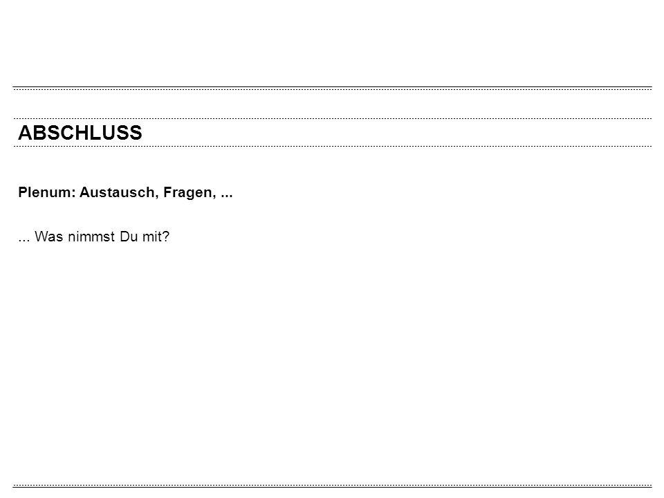 ABSCHLUSS Plenum: Austausch, Fragen,...... Was nimmst Du mit?