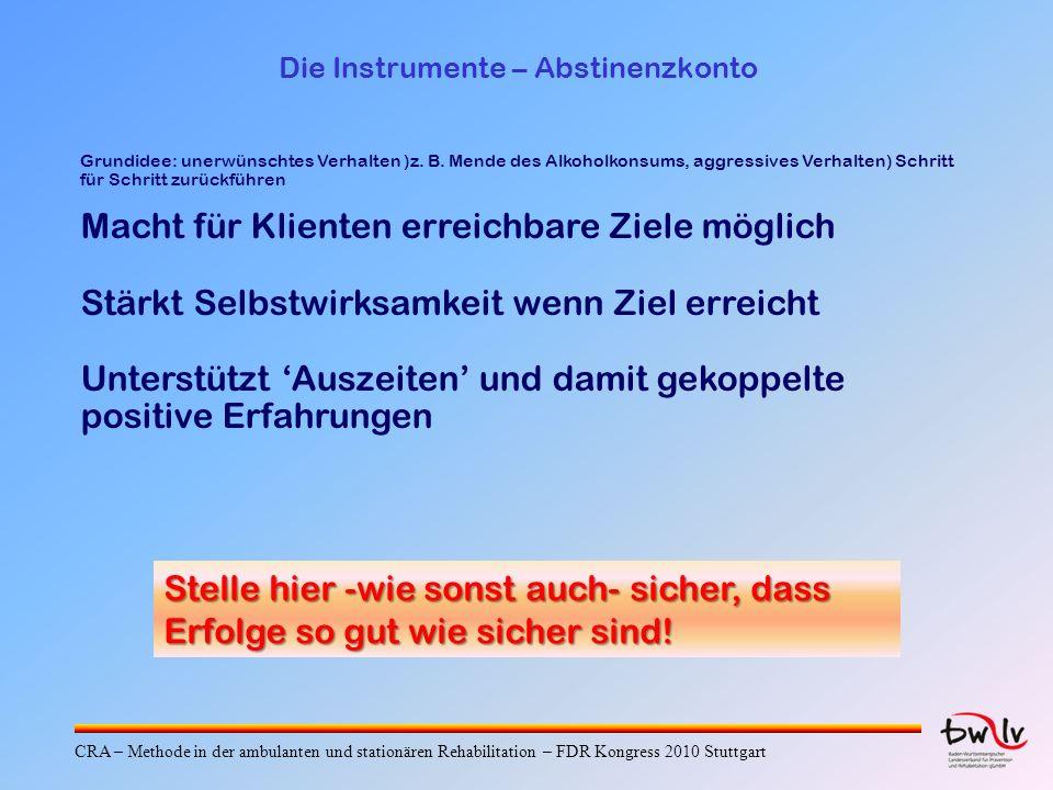 Die Instrumente – Abstinenzkonto Grundidee: unerwünschtes Verhalten )z.