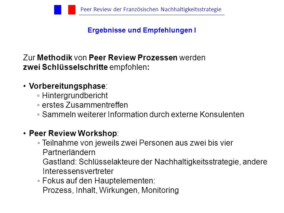 Zur Methodik von Peer Review Prozessen werden zwei Schlüsselschritte empfohlen: Vorbereitungsphase: Hintergrundbericht erstes Zusammentreffen Sammeln