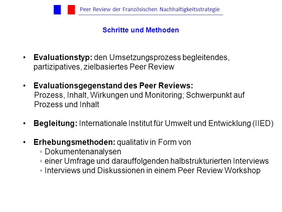 Evaluationstyp: den Umsetzungsprozess begleitendes, partizipatives, zielbasiertes Peer Review Evaluationsgegenstand des Peer Reviews: Prozess, Inhalt,