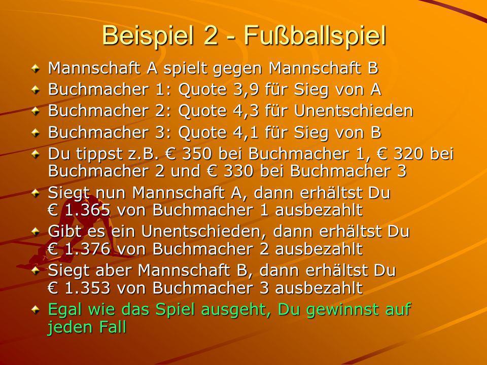 Beispiel 2 - Fußballspiel Mannschaft A spielt gegen Mannschaft B Buchmacher 1: Quote 3,9 für Sieg von A Buchmacher 2: Quote 4,3 für Unentschieden Buchmacher 3: Quote 4,1 für Sieg von B Du tippst z.B.