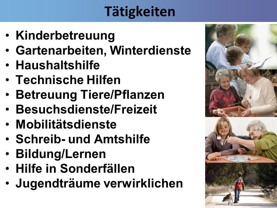 Tätigkeiten Kinderbetreuung Gartenarbeiten, Winterdienste Haushaltshilfe Technische Hilfen Betreuung Tiere/Pflanzen Besuchsdienste/Freizeit Mobilitäts