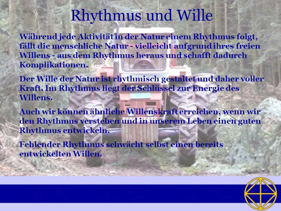 Rhythmus und Wille Während jede Aktivität in der Natur einem Rhythmus folgt, fällt die menschliche Natur vielleicht aufgrund ihres freien Willens aus dem Rhythmus heraus und schafft dadurch Komplikationen.