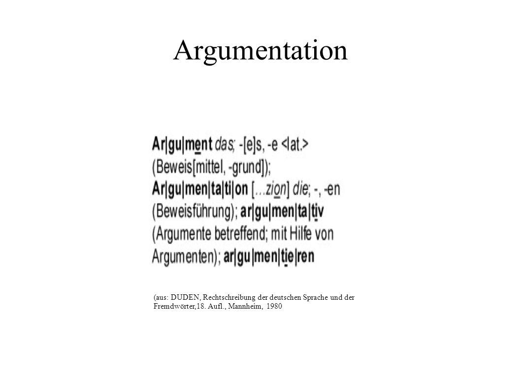Argumentation (aus: DUDEN, Rechtschreibung der deutschen Sprache und der Fremdwörter,18. Aufl., Mannheim, 1980