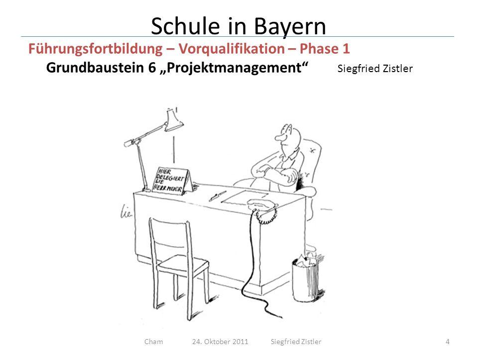 Schule in Bayern Führungsfortbildung – Vorqualifikation – Phase 1 Grundbaustein 6 Projektmanagement Siegfried Zistler 1.Definition Projekt 2.