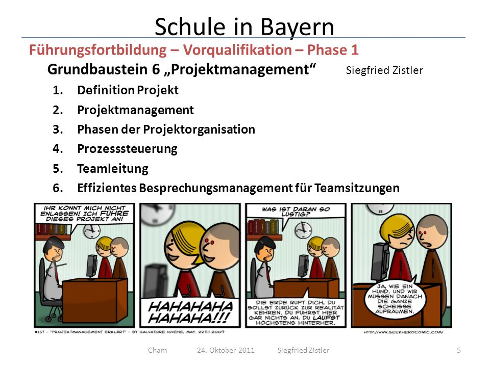 Schule in Bayern Führungsfortbildung – Vorqualifikation – Phase 1 Grundbaustein 6 Projektmanagement Siegfried Zistler 1.Definition Projekt 6Cham 24.