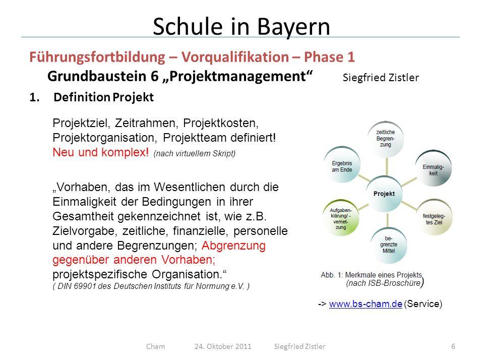 Schule in Bayern Führungsfortbildung – Vorqualifikation – Phase 1 Grundbaustein 6 Projektmanagement Siegfried Zistler 2.