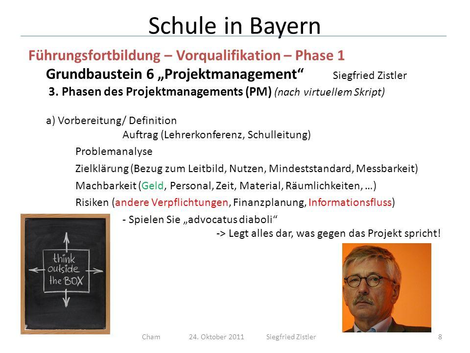 Schule in Bayern Führungsfortbildung – Vorqualifikation – Phase 1 Grundbaustein 6 Projektmanagement Siegfried Zistler -> Muster Projektplanung (.XLS) 19Cham 24.