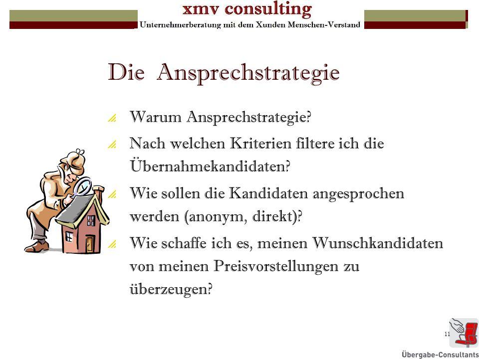 11 Die Ansprechstrategie Warum Ansprechstrategie? Nach welchen Kriterien filtere ich die Übernahmekandidaten? Wie sollen die Kandidaten angesprochen w