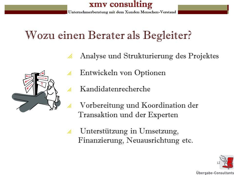 12 Wozu einen Berater als Begleiter? Analyse und Strukturierung des Projektes Entwickeln von Optionen Kandidatenrecherche Vorbereitung und Koordinatio