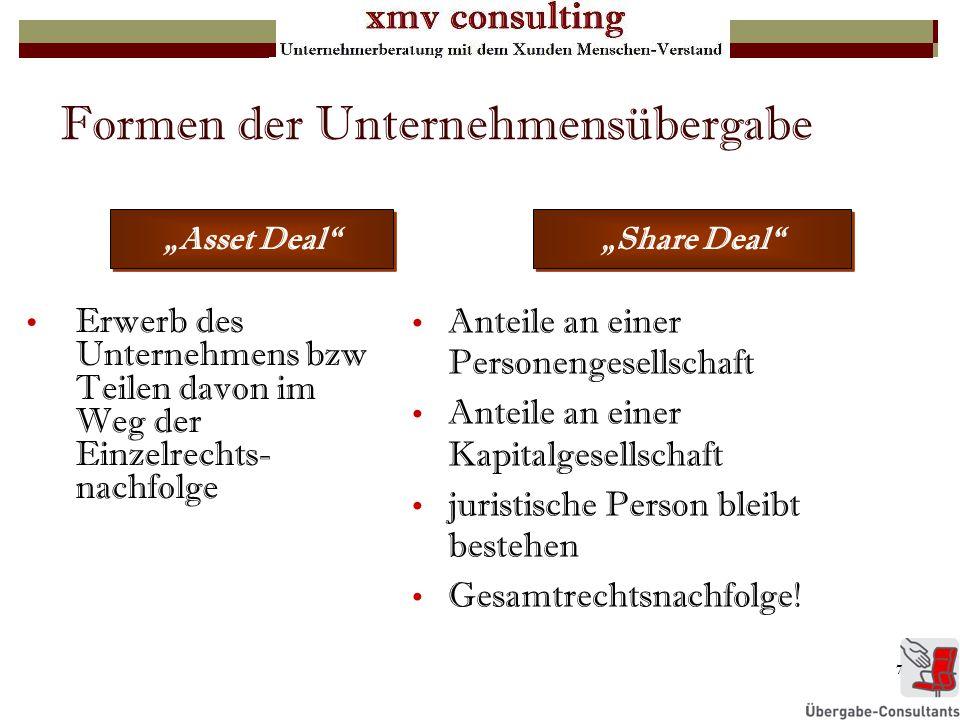 7 Formen der Unternehmensübergabe Erwerb des Unternehmens bzw Teilen davon im Weg der Einzelrechts- nachfolge Asset Deal Anteile an einer Personengese