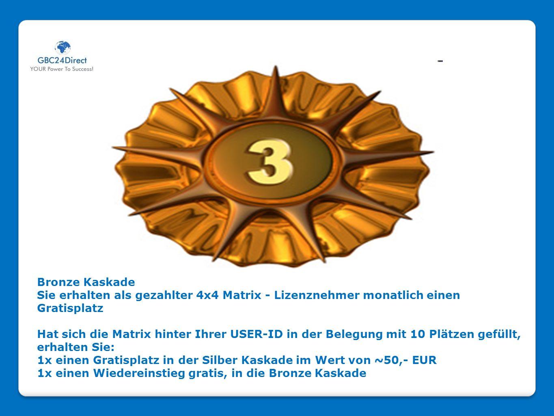 Bronze Kaskade Sie erhalten als gezahlter 4x4 Matrix - Lizenznehmer monatlich einen Gratisplatz Hat sich die Matrix hinter Ihrer USER-ID in der Belegu