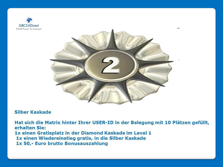 Silber Kaskade Hat sich die Matrix hinter Ihrer USER-ID in der Belegung mit 10 Plätzen gefüllt, erhalten Sie: 1x einen Gratisplatz in der Diamond Kask