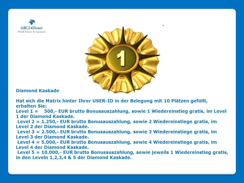 Diamond Kaskade Hat sich die Matrix hinter Ihrer USER-ID in der Belegung mit 10 Plätzen gefüllt, erhalten Sie: Level 1 = 500,- EUR brutto Bonusauszahl