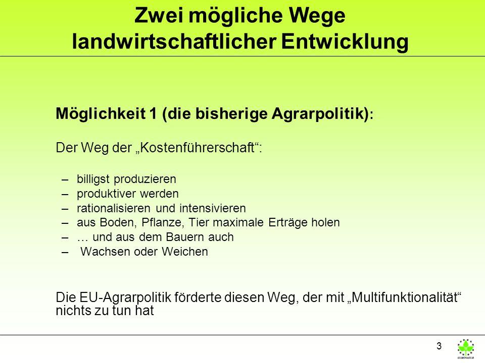 3 Zwei mögliche Wege landwirtschaftlicher Entwicklung Möglichkeit 1 (die bisherige Agrarpolitik) : Der Weg der Kostenführerschaft: –billigst produzieren –produktiver werden –rationalisieren und intensivieren –aus Boden, Pflanze, Tier maximale Erträge holen –… und aus dem Bauern auch – Wachsen oder Weichen Die EU-Agrarpolitik förderte diesen Weg, der mit Multifunktionalität nichts zu tun hat