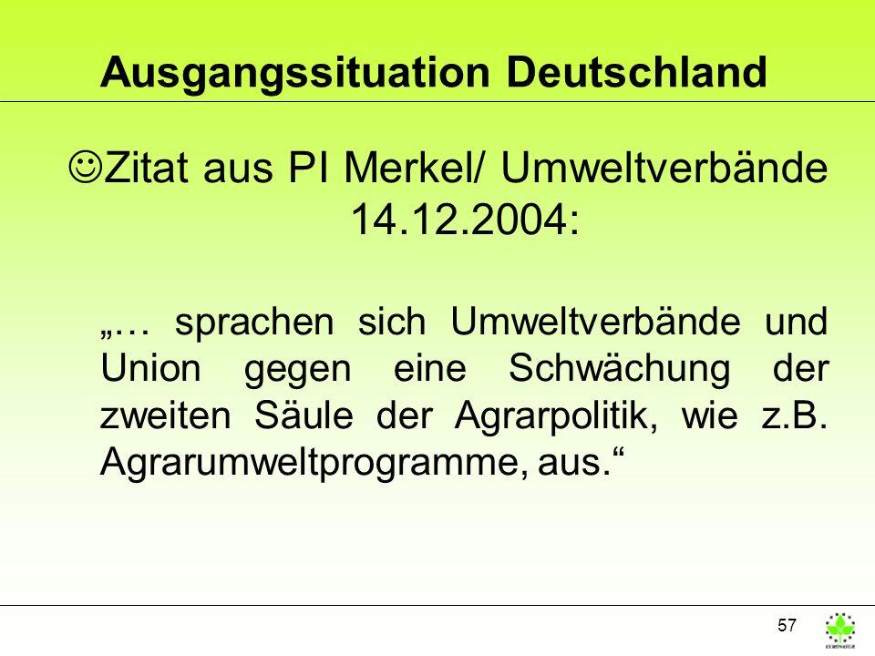57 Ausgangssituation Deutschland JZitat aus PI Merkel/ Umweltverbände 14.12.2004: … sprachen sich Umweltverbände und Union gegen eine Schwächung der z