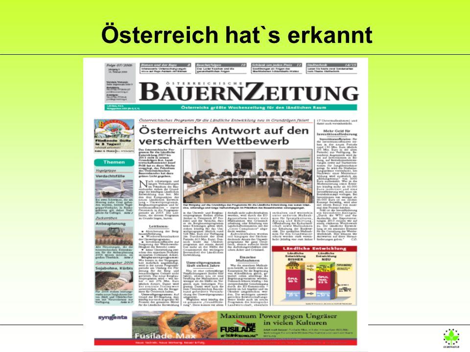 Österreich hat`s erkannt