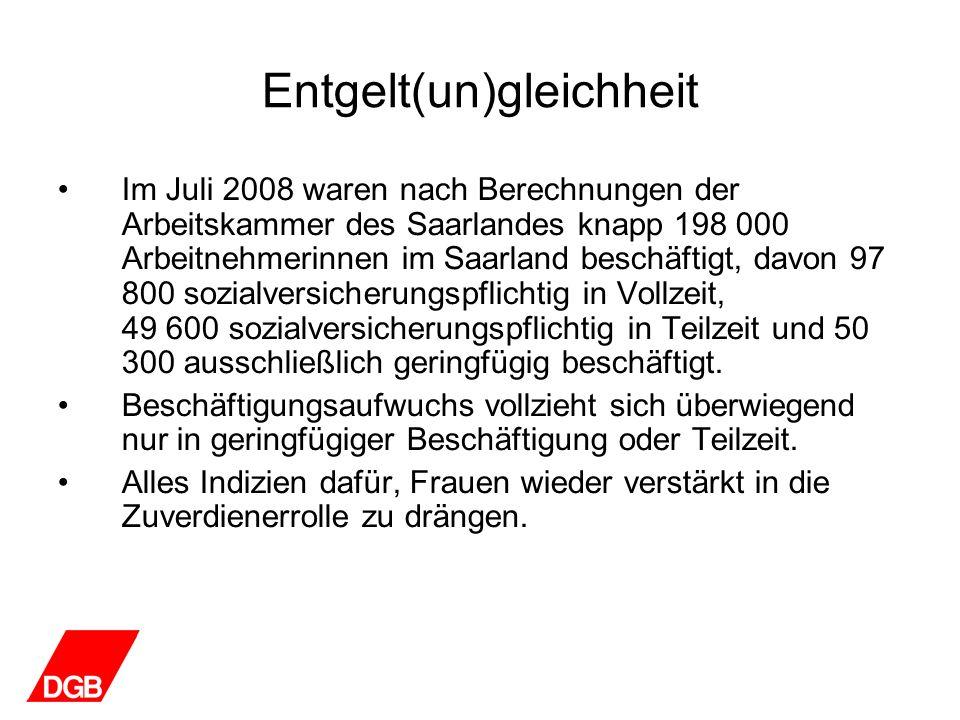 Entgelt(un)gleichheit Im Juli 2008 waren nach Berechnungen der Arbeitskammer des Saarlandes knapp 198 000 Arbeitnehmerinnen im Saarland beschäftigt, d