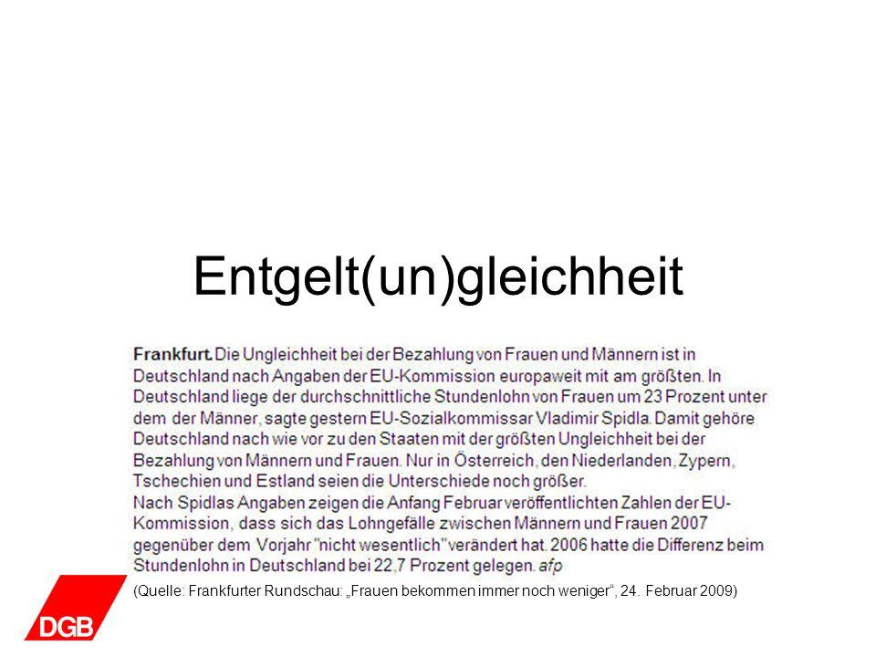 Entgelt(un)gleichheit (Quelle: Arbeitskammer Saarland: Europäische Beschäftigungsstrategie: Erwerbstätigenquote Frauen 2007 in Prozent aus Statistik der Bundesagentur für Arbeit und eigenen Berechnungen)
