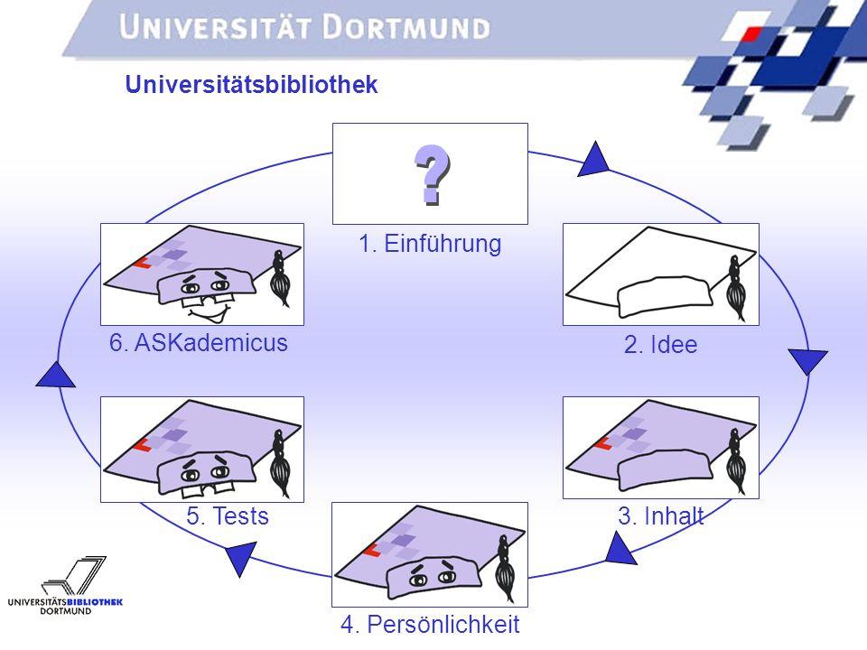 UNIVERSITÄTSBIBLIOTHEK Universitätsbibliothek 2. Idee 3. Inhalt 4. Persönlichkeit 5. Tests 6. ASKademicus 1. Einführung