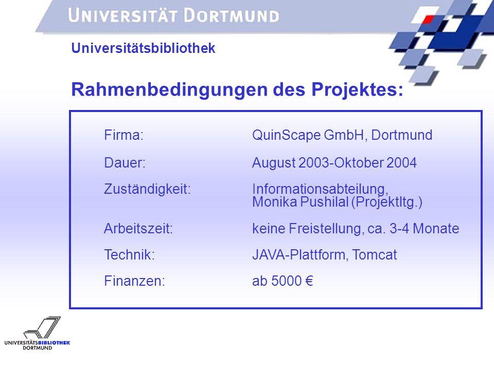 UNIVERSITÄTSBIBLIOTHEK Universitätsbibliothek Firma:QuinScape GmbH, Dortmund Dauer: August 2003-Oktober 2004 Zuständigkeit:Informationsabteilung, Monika Pushilal(Projektltg.) Arbeitszeit: keine Freistellung, ca.