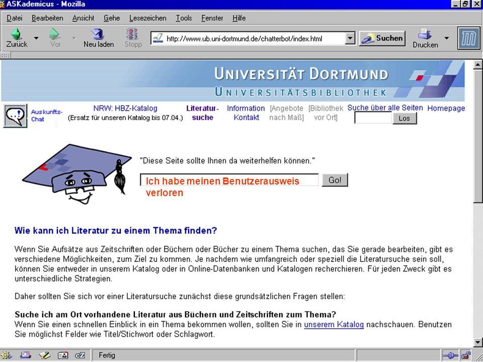 UNIVERSITÄTSBIBLIOTHEK Universitätsbibliothek Ich habe meinen Benutzerausweis verloren