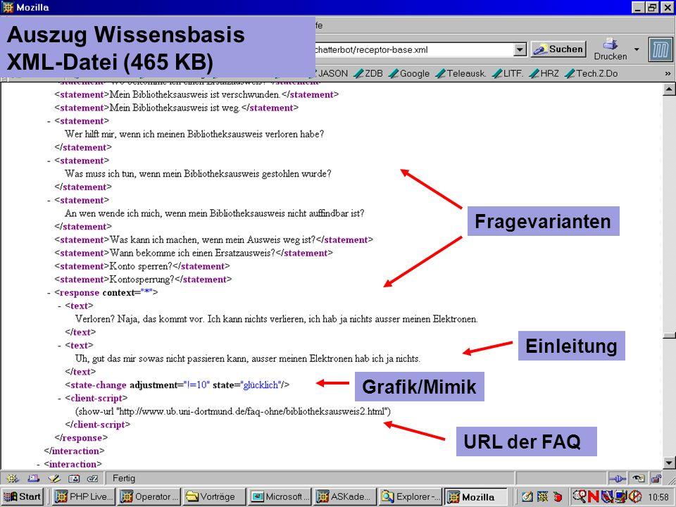 UNIVERSITÄTSBIBLIOTHEK Auszug Wissensbasis XML-Datei (465 KB) Grafik/Mimik Einleitung URL der FAQ Fragevarianten