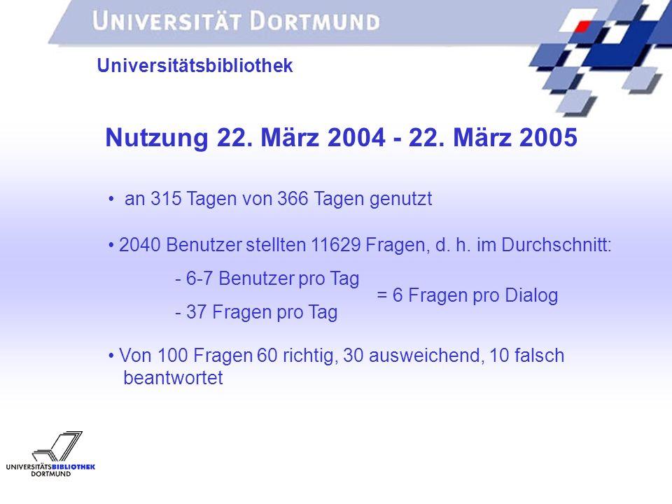 UNIVERSITÄTSBIBLIOTHEK Universitätsbibliothek Nutzung 22.