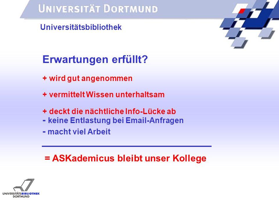 UNIVERSITÄTSBIBLIOTHEK Universitätsbibliothek Erwartungen erfüllt? + wird gut angenommen + vermittelt Wissen unterhaltsam + deckt die nächtliche Info-