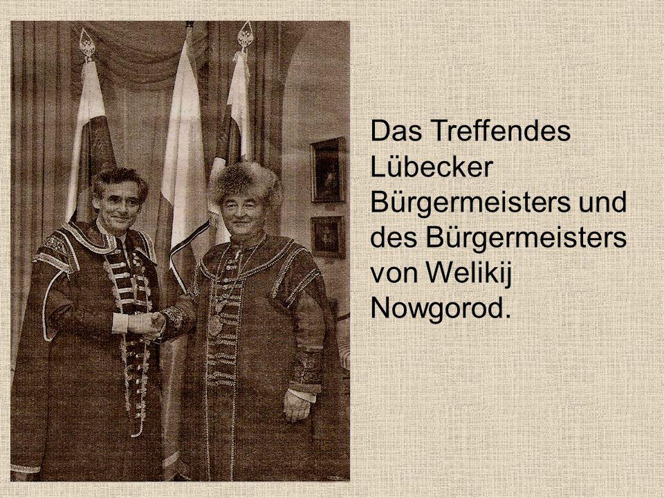 Das Treffendes Lübecker Bürgermeisters und des Bürgermeisters von Welikij Nowgorod.