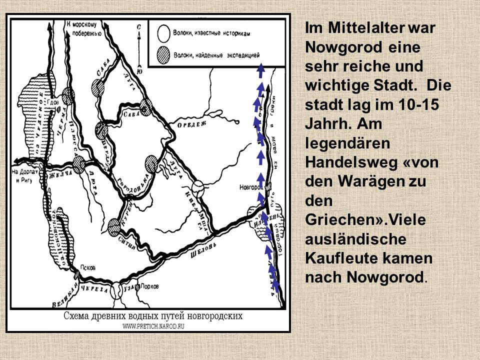Der Handel befand sich auf dem rechten Ufer des Wolchows, einer Festung gegenüber, die Detinez heißt.