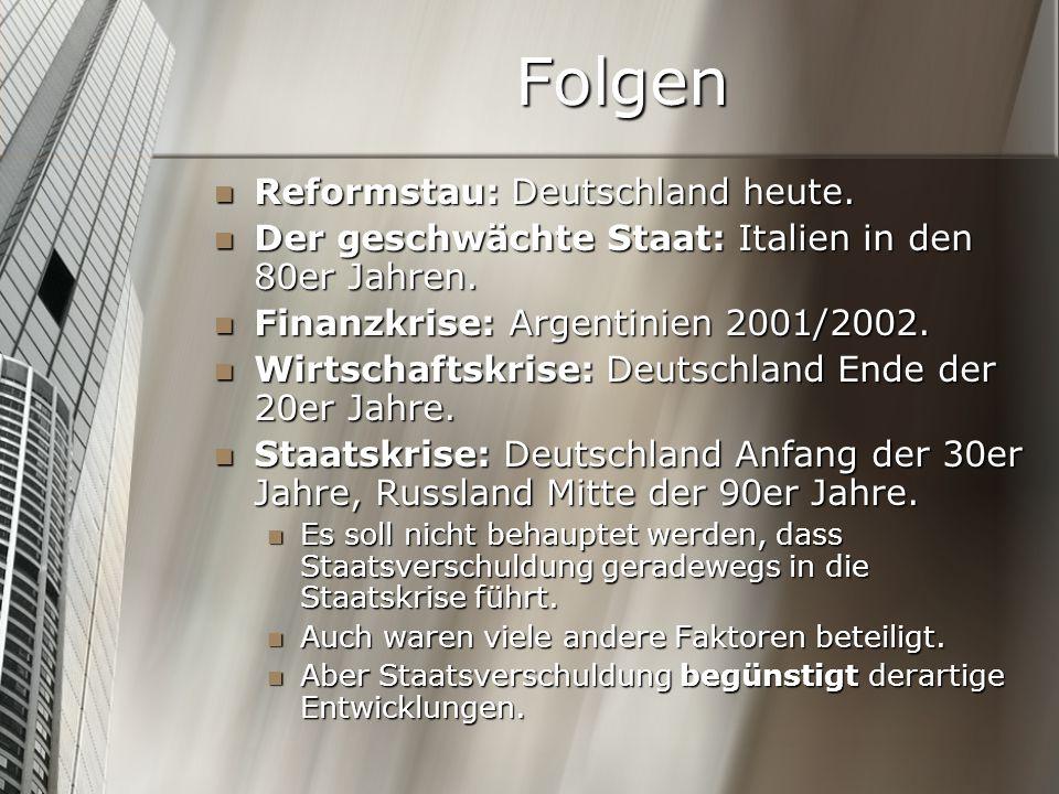 Folgen Reformstau: Deutschland heute. Reformstau: Deutschland heute. Der geschwächte Staat: Italien in den 80er Jahren. Der geschwächte Staat: Italien