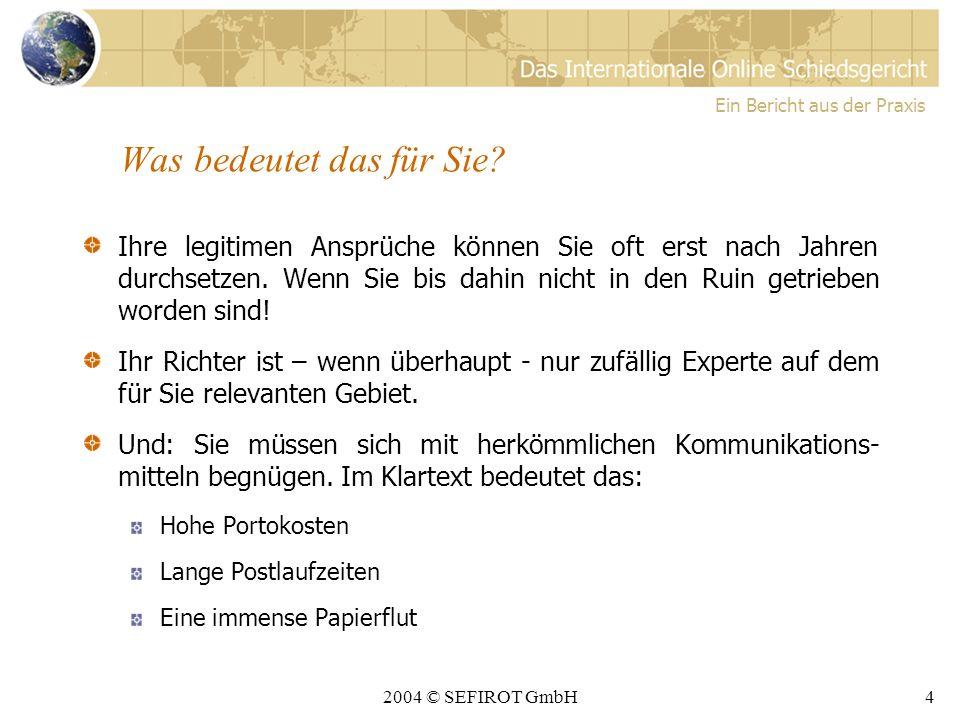 2004 © SEFIROT GmbH3 Vor den staatlichen Gerichten Ein Bericht aus der Praxis Staatl.