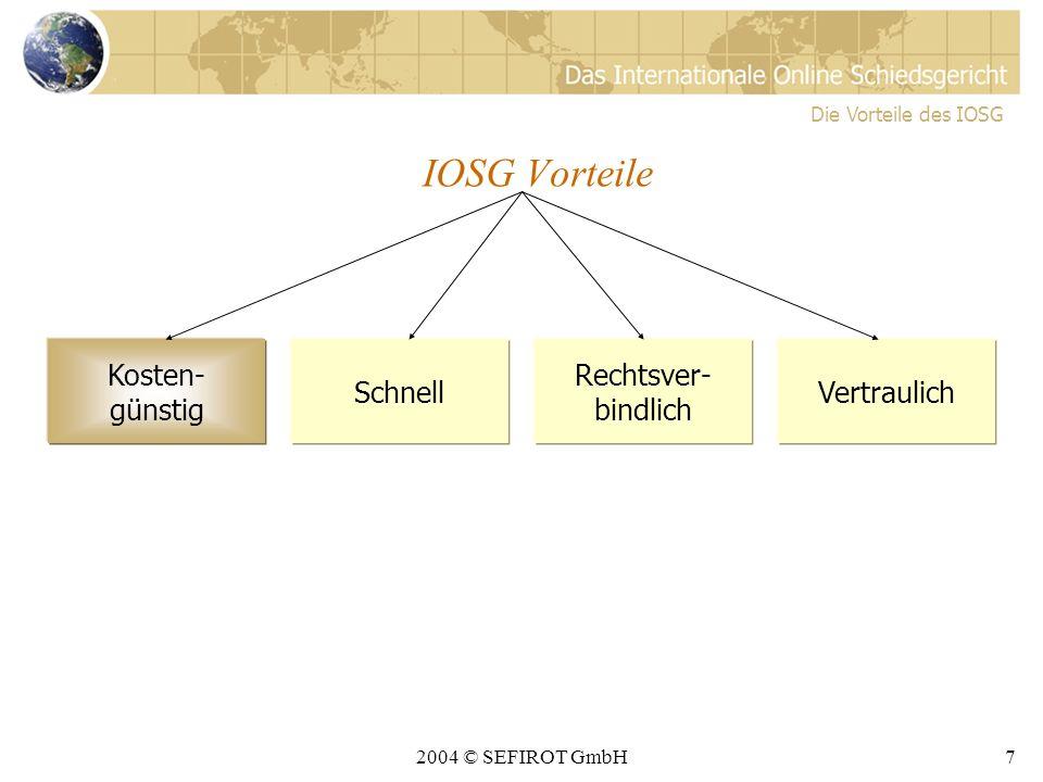2004 © SEFIROT GmbH7 IOSG Vorteile Kosten- günstig Schnell Rechtsver- bindlich Vertraulich Die Vorteile des IOSG