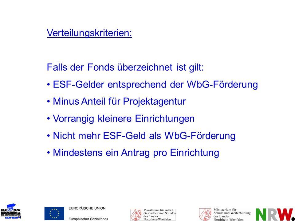 Verteilungskriterien: Falls der Fonds überzeichnet ist gilt: ESF-Gelder entsprechend der WbG-Förderung Minus Anteil für Projektagentur Vorrangig klein