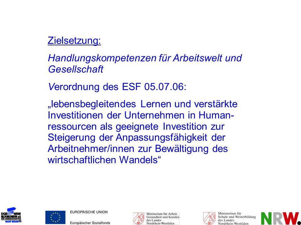 Zielsetzung: Handlungskompetenzen für Arbeitswelt und Gesellschaft Verordnung des ESF 05.07.06: lebensbegleitendes Lernen und verstärkte Investitionen